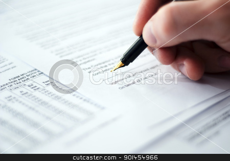 Signing contract. stock photo, Financial world with business people and everything related to it. by Tsalko