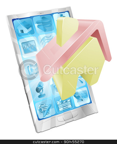 Home icon phone app concept stock vector clipart, House home icon coming out of phone screen concept by Christos Georghiou