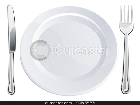 Empty plate and knife and fork cutlery stock vector clipart, Empty plate and knife and fork cutlery place setting  by Christos Georghiou