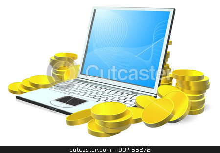 Laptop money concept stock vector clipart, Laptop computer with stacks of gold coins around it by Christos Georghiou
