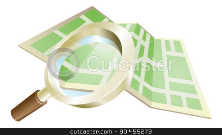 Magnifying glass map concept stock vector clipart, Magnifying glass zooming on map search concept illustration by Christos Georghiou