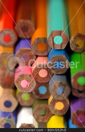 Colouring pencil ends stock photo, Macro image of the ends of used colouring pencils. Very shallow depth of field with the focus on the middle pencil. by © Ron Sumners