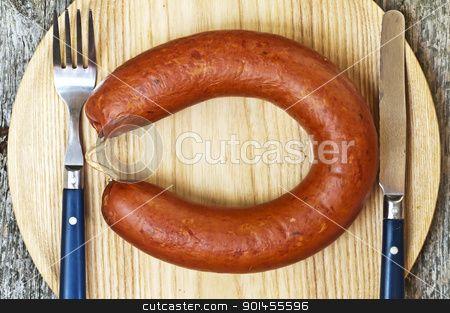 Kielbasa stock photo, smoked spicy Polish sausage Kielbasa by Hans-Joachim Schneider