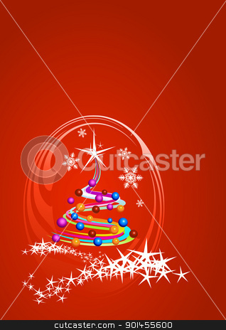 Christmas tree stock vector clipart, Christmas template, red background with stars by Jupe