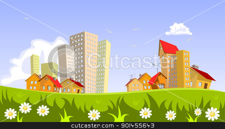 Vector city - summer stock vector clipart, Colorful abstract vector city . Vector art by Jupe