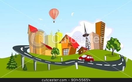 Vector city stock vector clipart, Colorful abstract vector city. Vector art by Jupe