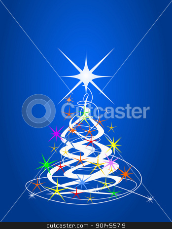 Christmas tree stock vector clipart, Christmas tree, blue background with stars by Jupe