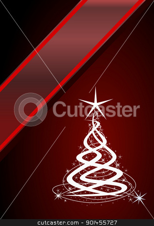 Christmas tree stock vector clipart, Christmas tree, red background with stars by Jupe