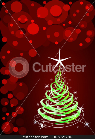 Green christmas tree stock vector clipart, Green christmas tree, red background with stars by Jupe