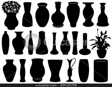 Vase set stock vector clipart, Vase set isolated on white by Ioana Martalogu