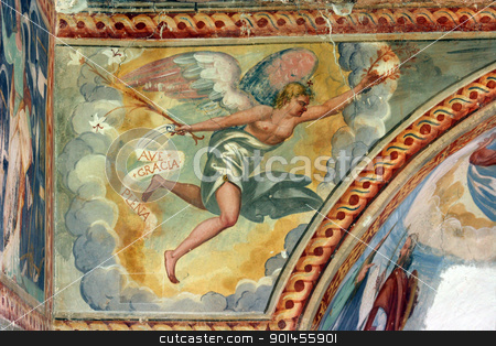 Archangel Gabriel stock photo, Archangel Gabriel, Fresco paintings in the old church by Zvonimir Atletic