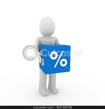 3d human sale cube stock photo, 3d human blue sale cube success percent business by d3images