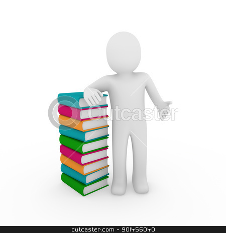 3d human book  stock photo, 3d human book paper learn read pink blue by d3images