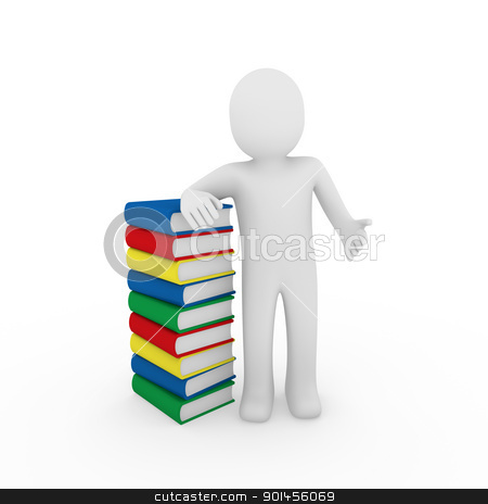 3d human book  stock photo, 3d human book paper learn read red blue by d3images