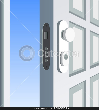 Open door stock vector clipart, Single white door open, detail by Jupe