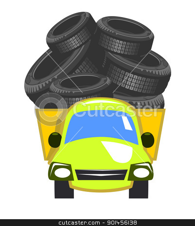 Vector delivery truck stock vector clipart, Vector delivery truck - tire by Jupe
