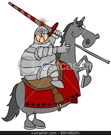 Jouster On A Rearing Horse stock photo, This illustration depicts a Knight in armor riding atop a rearing horse. by Dennis Cox