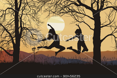 Young woman jumping in a meadow - vector stock vector clipart, vector illustration silhouettes of female figures in the meadow by Vladim?