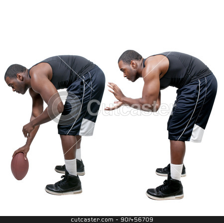 Black Man Playing Football stock photo, Black African American man playing a game of football by Robert Byron