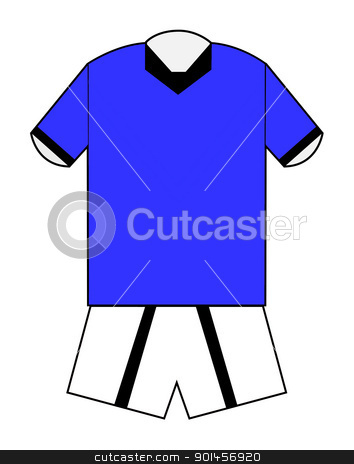 Blank football or soccer kit stock photo, Blank football or soccer kit in blue with clipping path on white background. by Martin Crowdy