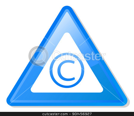 Copyright warning sign stock photo, Copyright warning sign isolated on white background. by Martin Crowdy