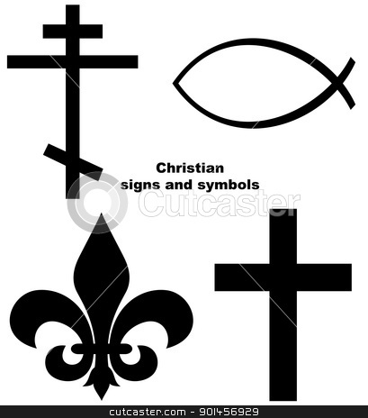Set of Christian signs stock photo, Set of Christian signs or symbols isolated on a white background. by Martin Crowdy