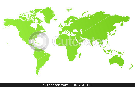 Green eco world map stock photo, Green eco world map isolated on white background. by Martin Crowdy