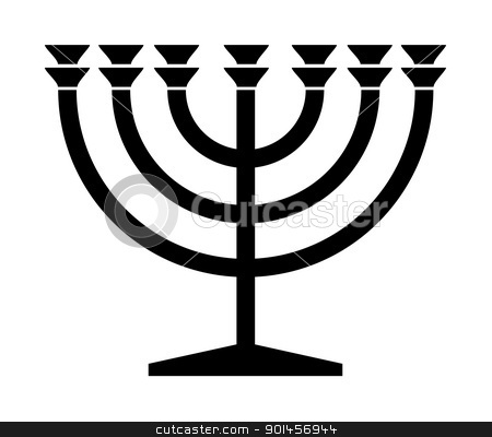 Jewish Menorah candlestick stock photo, Jewish Menorah candlestick in black silhouette isolated on white background. by Martin Crowdy