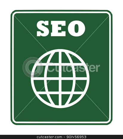 SEO sign stock photo, SEO or Search Engine Optimization sign isolated on white background with copy space. by Martin Crowdy