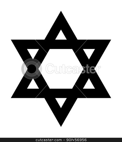 Star of David sign stock photo, Jewish Star of David sign in silhouette on white background. by Martin Crowdy