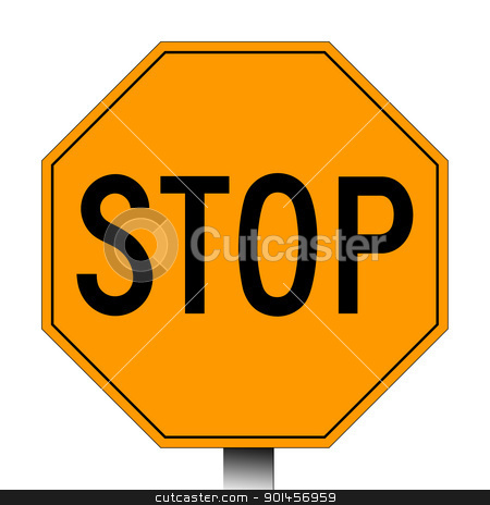 Stop sign stock photo, Orange stop sign isolated on a white background. by Martin Crowdy