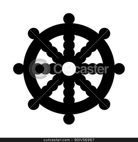 Buddhist Wheel of Dharma stock photo, Buddhist Wheel of Dharma in black silhouette islolated on white background. by Martin Crowdy