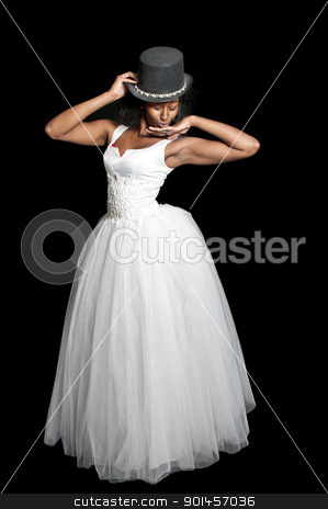 Black Wedding Dress on Black Woman In Wedding Dress Stock Photo  Black African American Woman