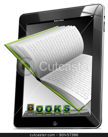 Tablet Computer Books stock photo, Tablet computer with the icons BOOKS and open book  by catalby