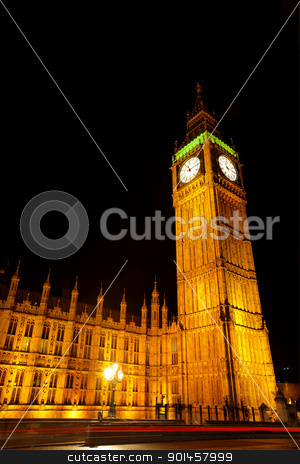 Big ben stock photo, The houses of parliament and Big Ben illuminated at night by Kjersti Jorgensen