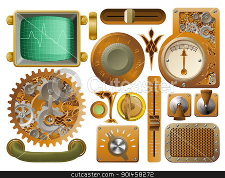 Victorian Steampunk design elements stock vector clipart, Industrial Victorian style grunge Steampunk design element switches, dials etc. by Christos Georghiou