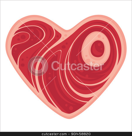 Meat Heart stock vector clipart, For all of the meat lovers out there. Vector cartoon illustration of a heart-shaped chop of meat. by John Schwegel