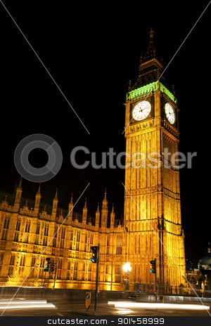 The houses of parliament stock photo, The houses of parliament and Big Ben illuminated at night by Kjersti Jorgensen