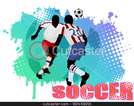 Soccer poster stock vector clipart, Soccer action players on grunge poster background, vector illustration by radubalint