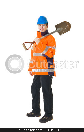 Manual worker stock photo, Manual worker isolated on white background by Anne-Louise Quarfoth