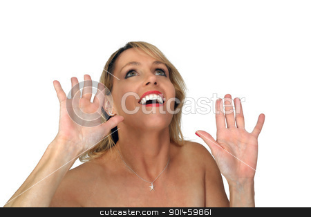 Beautiful Blonde Laughing with Hands Raised (2) stock photo, Studio close-up of a lovely blonde laughing with her hands raised. by Carl Stewart
