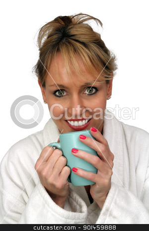 Beautiful Blonde Enjoying Hot Beverage (1) stock photo, A lovely blonde with a captivating smile and wearing a white bathrobe, enjoys a hot beverage.  Isolated on a white background. by Carl Stewart