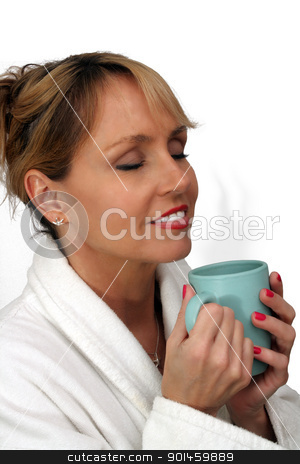 Beautiful Blonde Enjoying Hot Beverage (2) stock photo, A lovely blonde with a captivating smile and wearing a white bathrobe, enjoys a hot beverage.  Isolated on a white background. by Carl Stewart