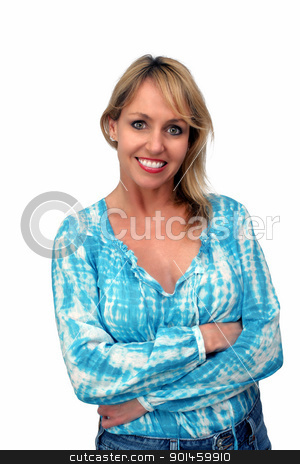 Beautiful Smiling Blonde (3) stock photo, A lovely blonde with a captivating smile.  Isolated on a white background. by Carl Stewart