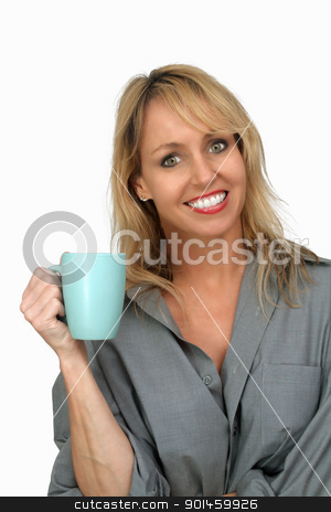 Beautiful Blonde Enjoying Hot Beverage (3) stock photo, A lovely blonde with a captivating smile and wearing a man's button-down shirt, enjoys a hot beverage.  Isolated on a white background. by Carl Stewart