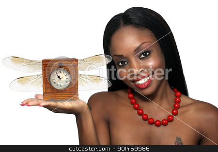 Beautiful Young Hostess with Winged Antique Clock stock photo, Studio close-up of an extraordinarily beautiful young woman with a bright, warm smile and an antique clock with wings in her extended hand. by Carl Stewart