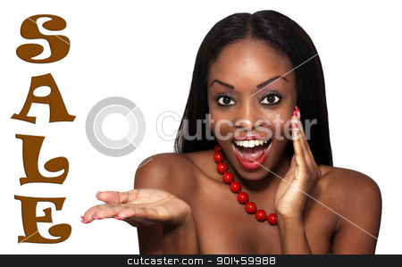 Beautiful, Young Hostess Excited About a Sale stock photo, Studio close-up of an extraordinarily beautiful young woman with an excited facial expression and her hand extended, palm up, toward the word