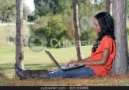 Beautiful Casual Woman Outdoors with Laptop (1) stock photo, An extraordinarily beautiful young woman dressed in casual wear, works on her laptop computer outdoors. by Carl Stewart