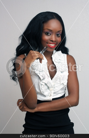 Beautiful Young Businesswoman (3) stock photo, An extraordinarily beautiful young businesswoman holding an ink pen. by Carl Stewart