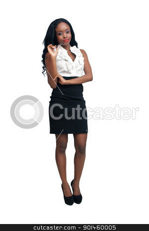 Beautiful Young Businesswoman (5) stock photo, An extraordinarily beautiful young businesswoman holding an ink pen.  Isolated on a white background with generous copyspace. by Carl Stewart